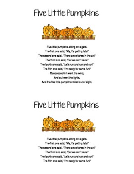 Five Little Pumpkins (Finger Play/Song for Early Elementary)