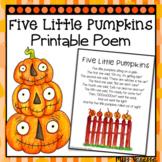 Five Little Pumpkins Printable Poem ~ Halloween-Themed Poe