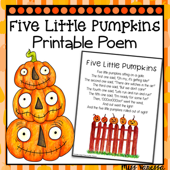 Five Little Pumpkins Printable Poem ~ Halloween-Themed Poe