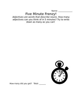 Five Minute Frenzy: Adjective Worksheet