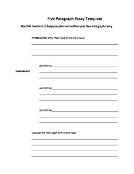 Five Paragraph Essay Template