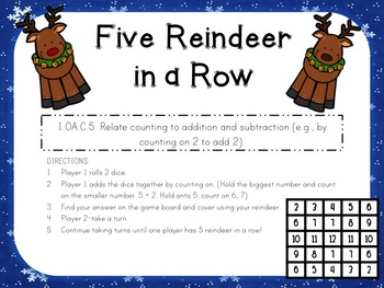 Five Reindeer in a Row: FREEBIE