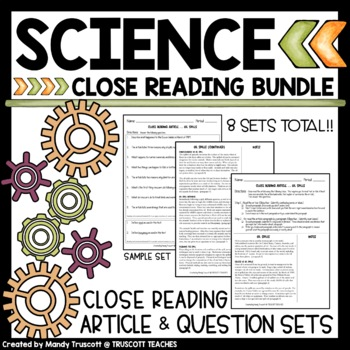 Five Science Close Reading Articles & Questions