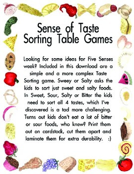 Five Senses- Sense of Taste Sorting  ScienceTable Games