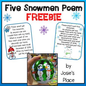 Five Snowmen Poem 2016 FREEBIE