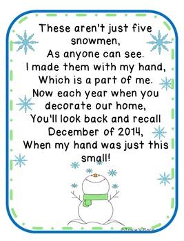 Five Snowmen Poem 2014