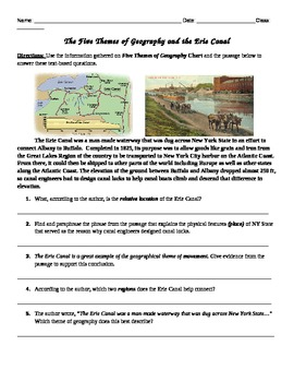 Five Themes of Geography  & Erie Canal Common Core Text-ba