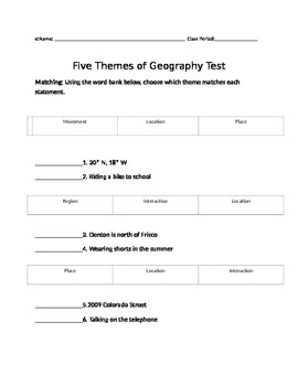 Five Themes of Geography Modified Test