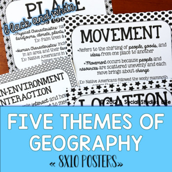 Five Themes of Geography Posters - Black and White