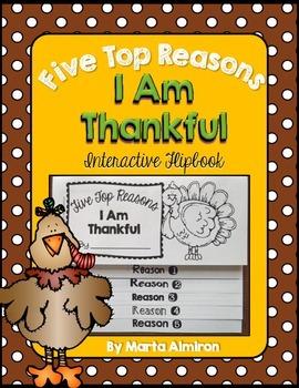 Five Top Reasons I Am Thankful - FREE Interactive Flipbook