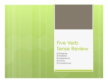 Spanish Five Verb Tense Review Notes