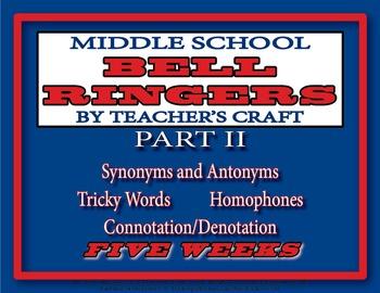 Five Week Middle School ELA Bell Ringers Packet - Part 2