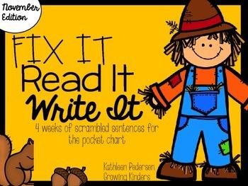 Fix It! Read It! Write It! November Sentence Scrambles