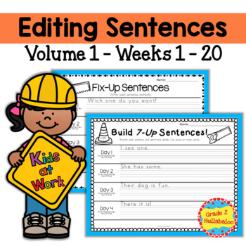 Editing Sentences ~ 20 Weeks - CCSS Aligned