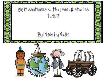 Fix It Sentences with a Social Studies Twist