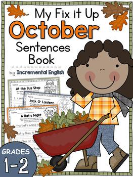Fix It Up Sentences Book for October (Capitals, End Punctu