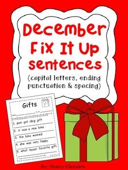 December Fix It Up Sentences - (capital letters, punctuati