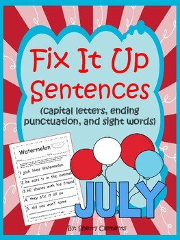 Summer - Fix It Up Sentences (July)