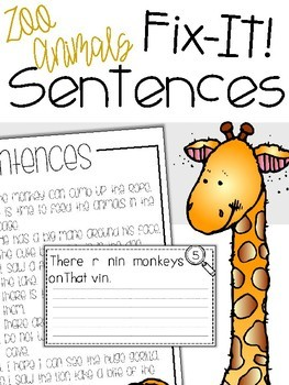 Fix-It! Writing Sentences (Zoo Animals Edition)