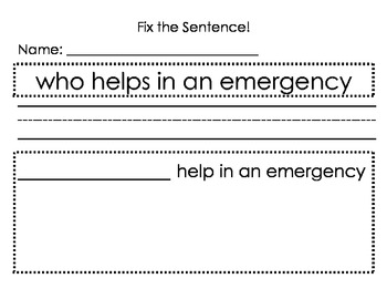 Fix the Sentence - Asking Sentence