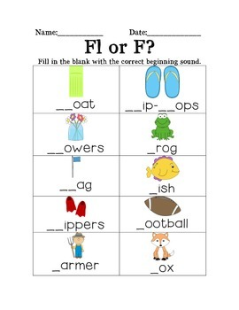Fl or F Blend Worksheet