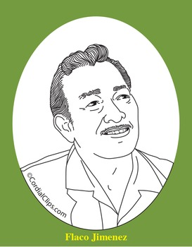 Flaco Jimenez Realistic Clip Art, Coloring Page, and Poster
