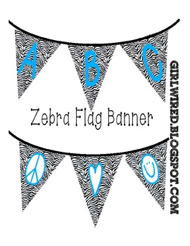 Flag Banners - Zebra Print with Blue Colored Font