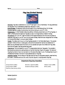 Flag Day - America - Review Article Questions Vocabulary A
