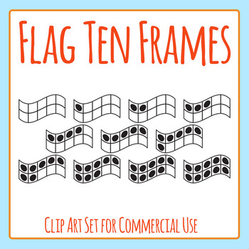 Flag Shaped 10 Frames / Ten Frames Clip Art Set for Commer