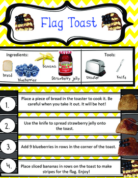 Flag Toast Snack Step By Step Directions