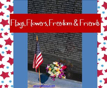 Memorial Day Spelling (K-2): Flags, Flowers, Freedom & Friends: