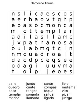 Flamenco Terms Crossword