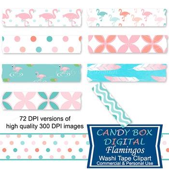 Flamingo And Feather Washi Tape Clip Art