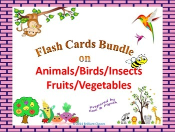 Flash Cards Bundle on Animals/Birds/Insects/Fruits/Vegetables