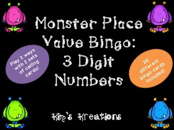 Monster Place Value Bingo: 3 Digit; 2 games included