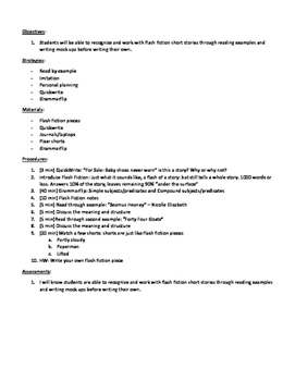 Flash Fiction Lesson Plan and Notes
