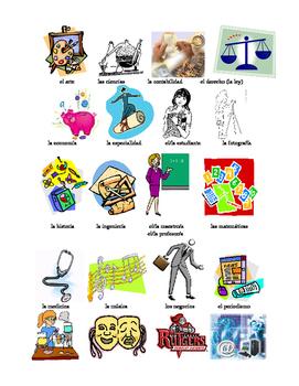 Flash cards- school subjects, classes, estudios, asignatur