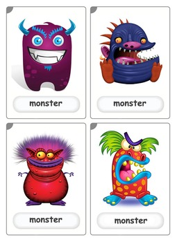 Flashcards - 4 funny monsters