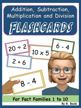 Flashcards - Add, Subtract, Multiply and Divide - Fact Fam