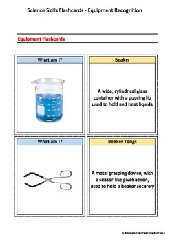 Flashcards (Set of 80) - Science Equipment and Definitions