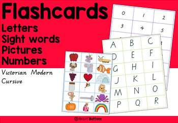 Flashcards - letters numbers high frequency words pics, Vi
