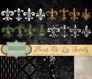 Fleur de Lis Jewels and Gems Digital scrapbook kit clipart