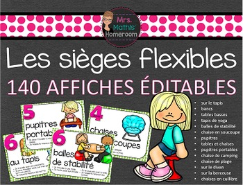 Flexible Seating French Posters (Editable) - Les sièges fl