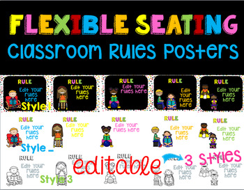 Flexible Seating Classroom Rules Posters (Editable)