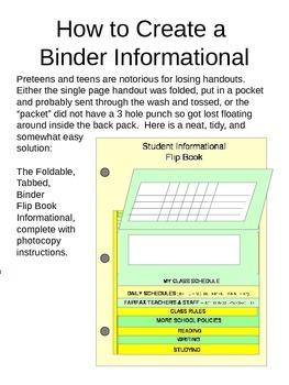 Flip Book for Student Information (for middle and high school)