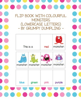 Flip Book with Colourful Monsters - lowercase letters.