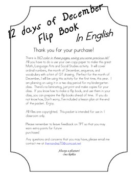 Flip Book:12 days of December-English (cut/paste & GT drawing