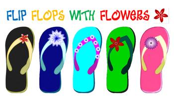 Flip Flop Clip Art with Flowers