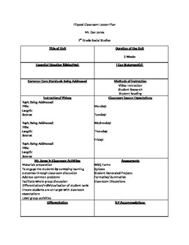Flipped classroom lesson plan template by daniel jones for Teachers college lesson plan template