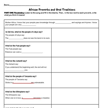 Flocabulary African Proverbs and Oral Traditions
